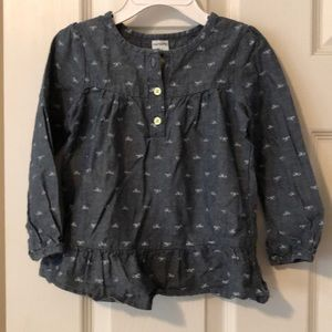 Carters denim long sleeve top size 3T